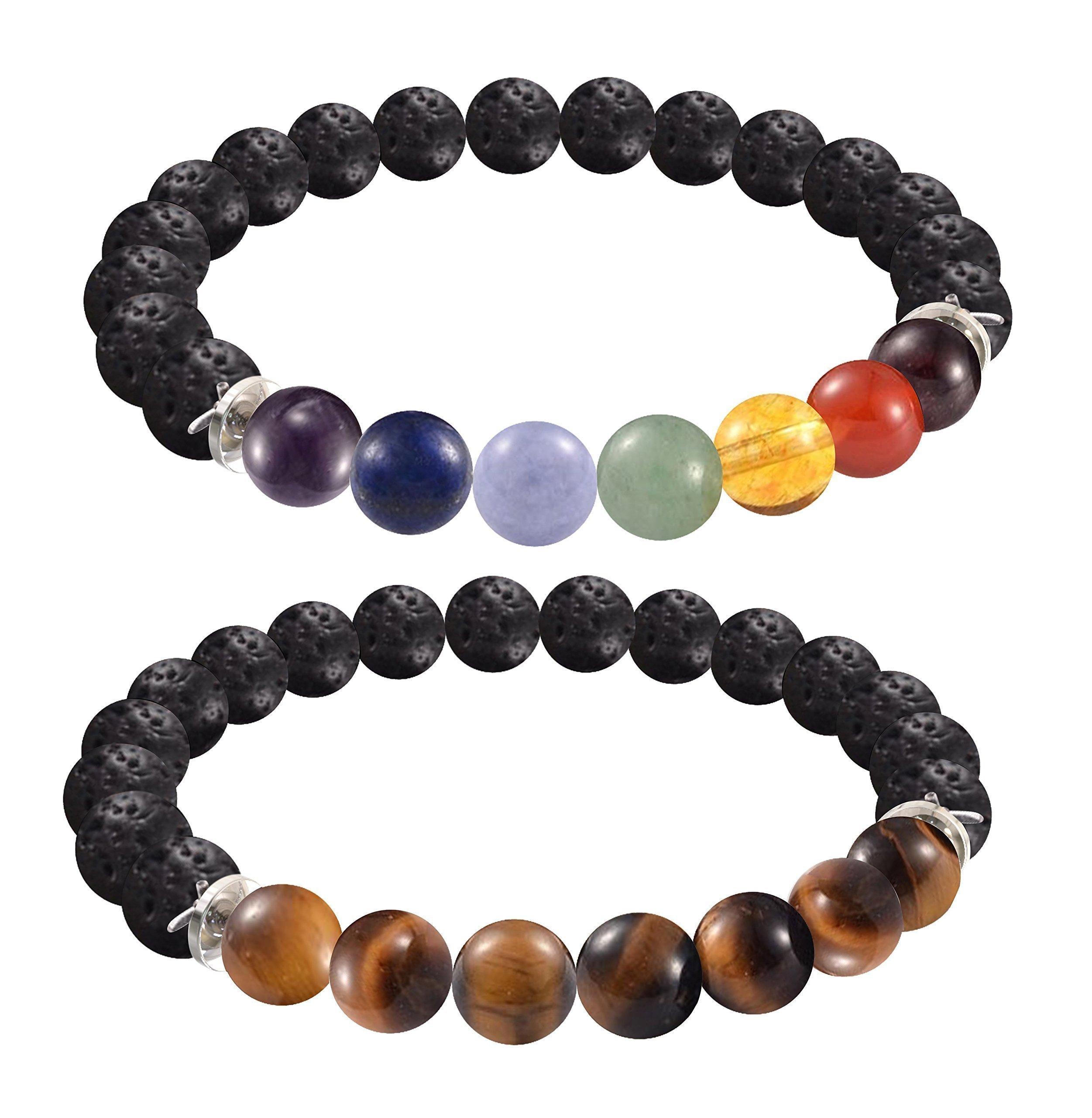 "2 FOR 1 Lava Rock Bead Essential Oil Diffuser 7 Chakra Healing Bracelet Gemstone Tigers Eye Combo Stretch Bracelet Health Wellness Fits Most 7.5-8.5"" Unisex 60 Day Satisfaction Guarantee 2 Bracelets"