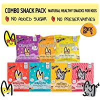 The Mumum Co Combo Snack Pack | Healthy Snack for Kids | Natural Fruit Snacks and Multigrain Roasted Puffs (Pack of 7)