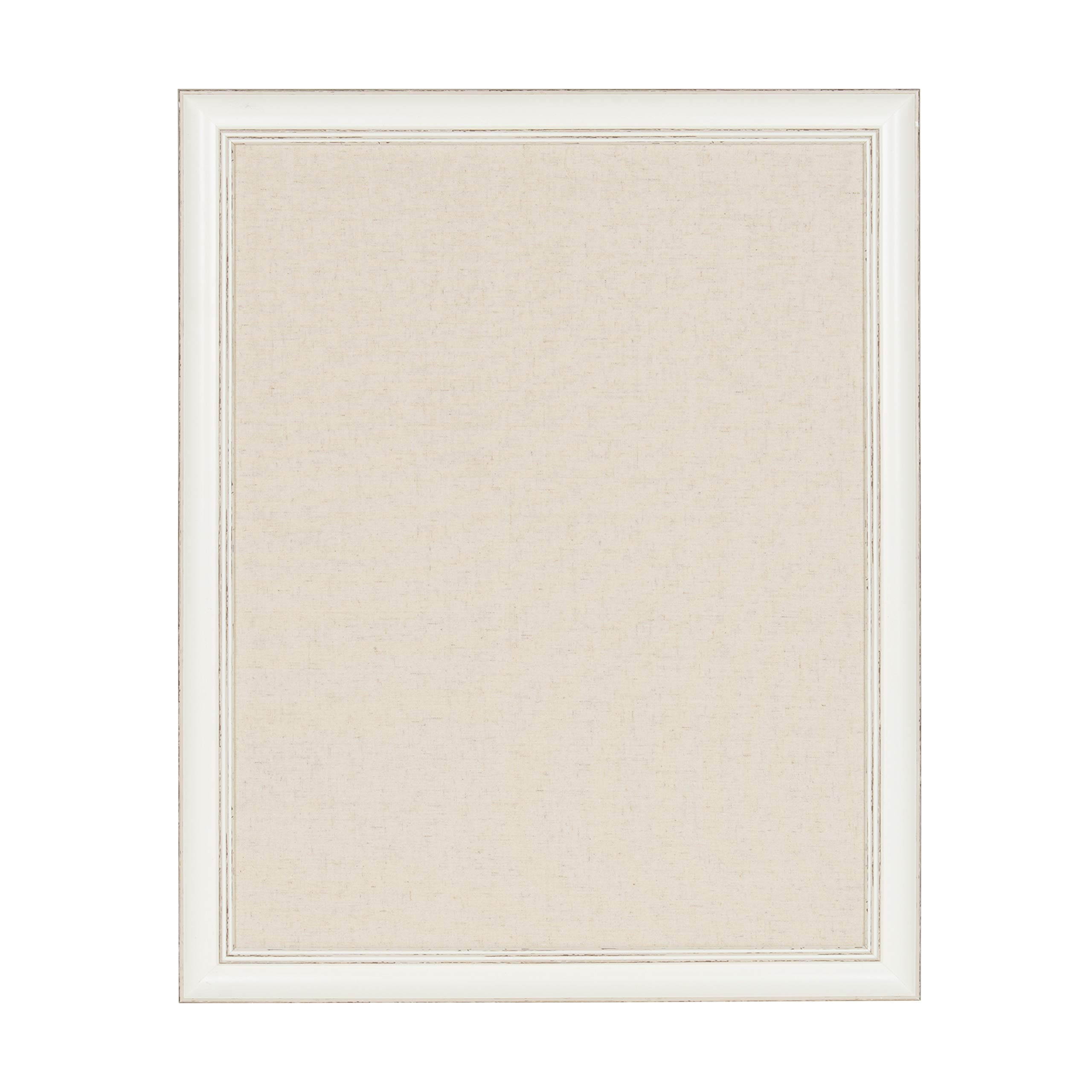 DesignOvation Macon Framed Linen Fabric Pinboard, 23x29, Soft White by Kate and Laurel