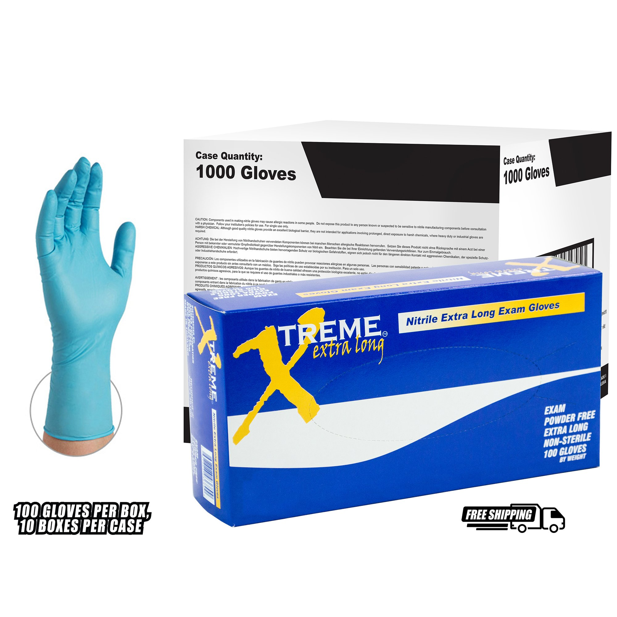AMMEX - XNPFL48100 - Extra Long Nitrile Gloves - Xtreme - Disposable, Powder Free, 4 mil, XLarge, Blue (Case of 1000)