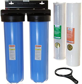 ispring wcb22b 2stage whole house water filtration system w 20inch big - Whole House Water Filtration