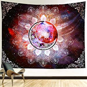 Funeon Trippy Mandala Tapestry Wall Hanging Pink Purple Moon Star Galaxy Wall Tapestry Hippie for Bedroom Indie Room Wall Decor for Teen Girl Women Witchy Psychedelic College Dorm Tapestries 82x60inch