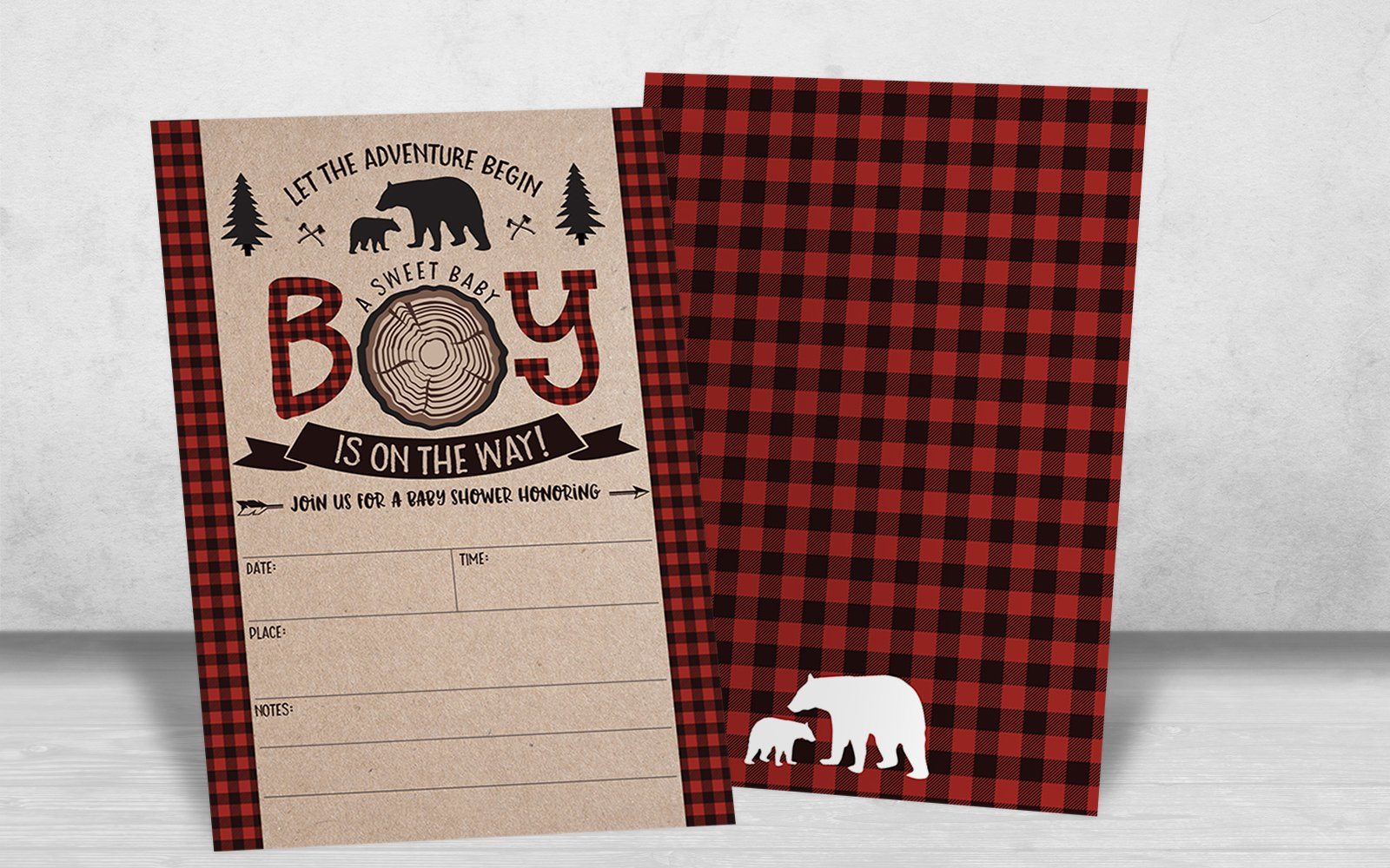 Lumberjack Baby Shower Invitations, Boy Baby Shower Invitations, Mama Bear Baby Shower Invites, Woodland Baby Shower Invitations, 20 Fill in Invitations and Envelopes by Your Main Event Prints (Image #4)