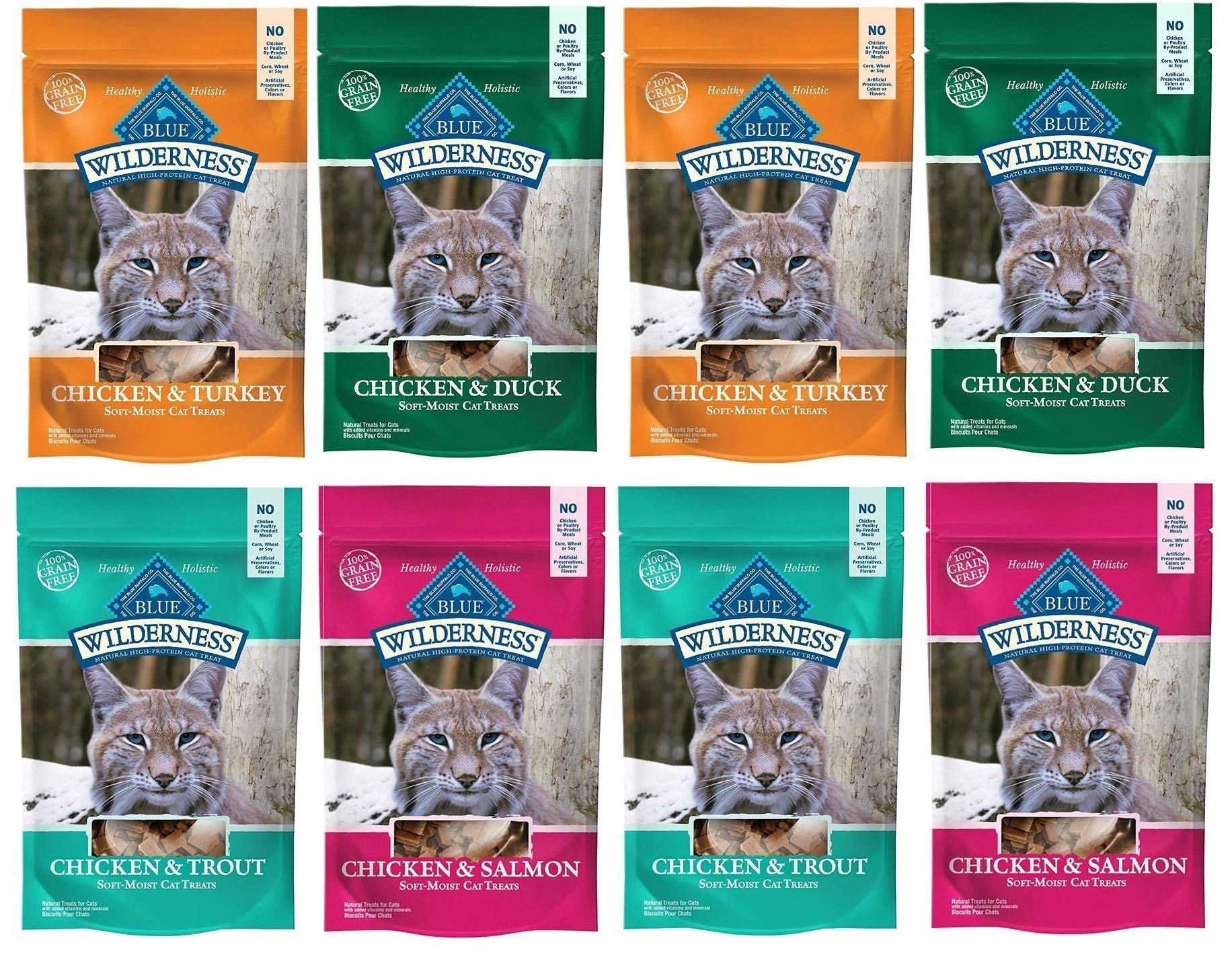 Blue Buffalo Wilderness Soft-Moist Grain-Free Cat Treats Variety Pack 16 Ounces - 4 Flavors (Chicken & Duck, Chicken & Trout, Chicken & Salmon, and Chicken & Turkey) - 4 Oz Each Flavor