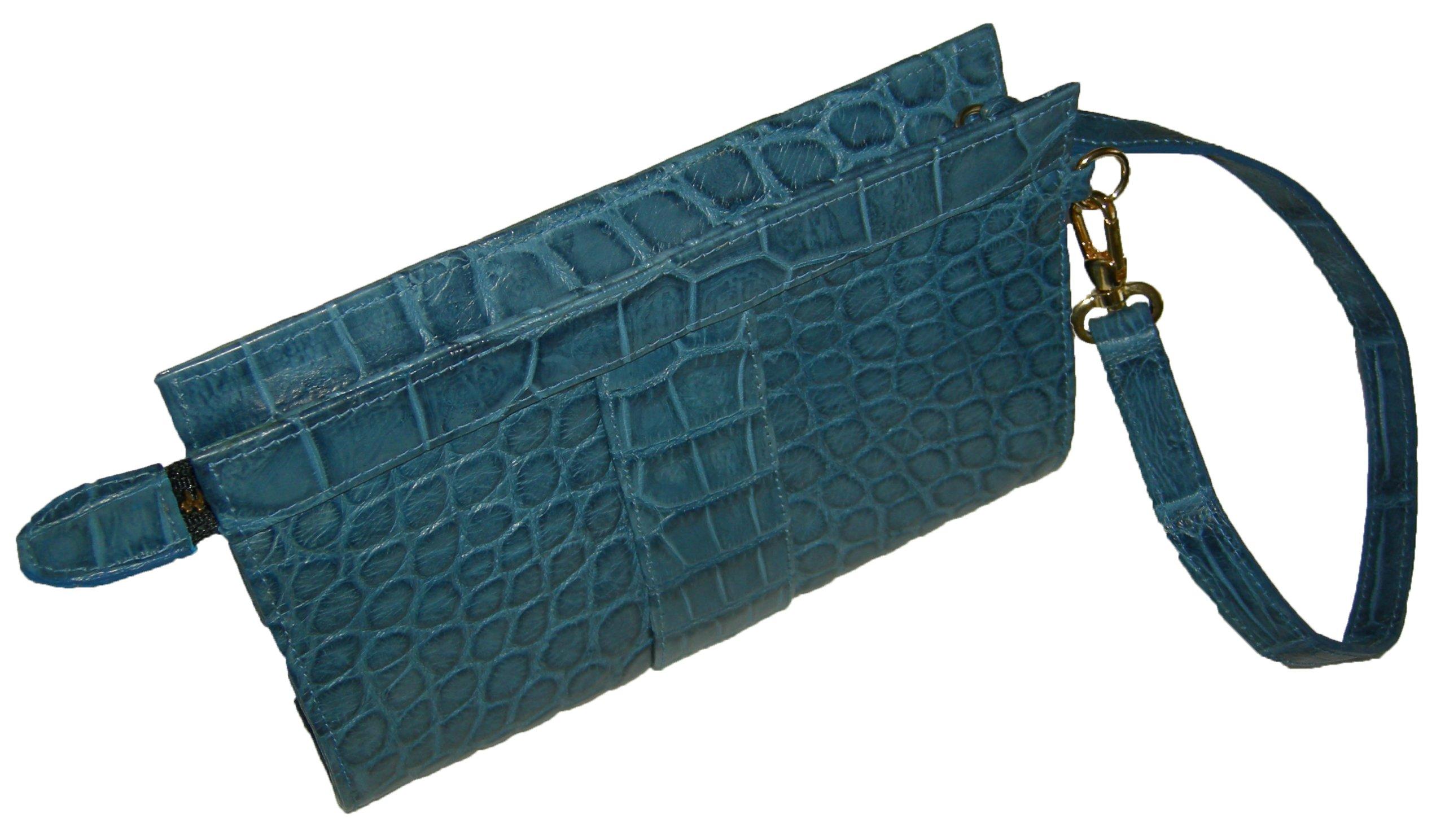 Sultan Genuine Alligator ''Bluum'' Wristlet Bag - Light Blue (Matte) - One Size