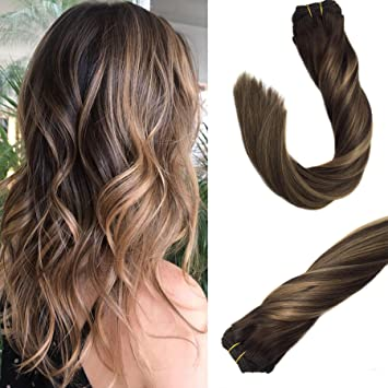 Amazon Com Googoo Balayage Clip In Hair Extensions Light Brown