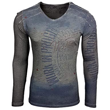 best service bde02 bc48c Printed Motiv Druck Herren Langarm Shirt T-Shirt Longshirt A1-RN10109