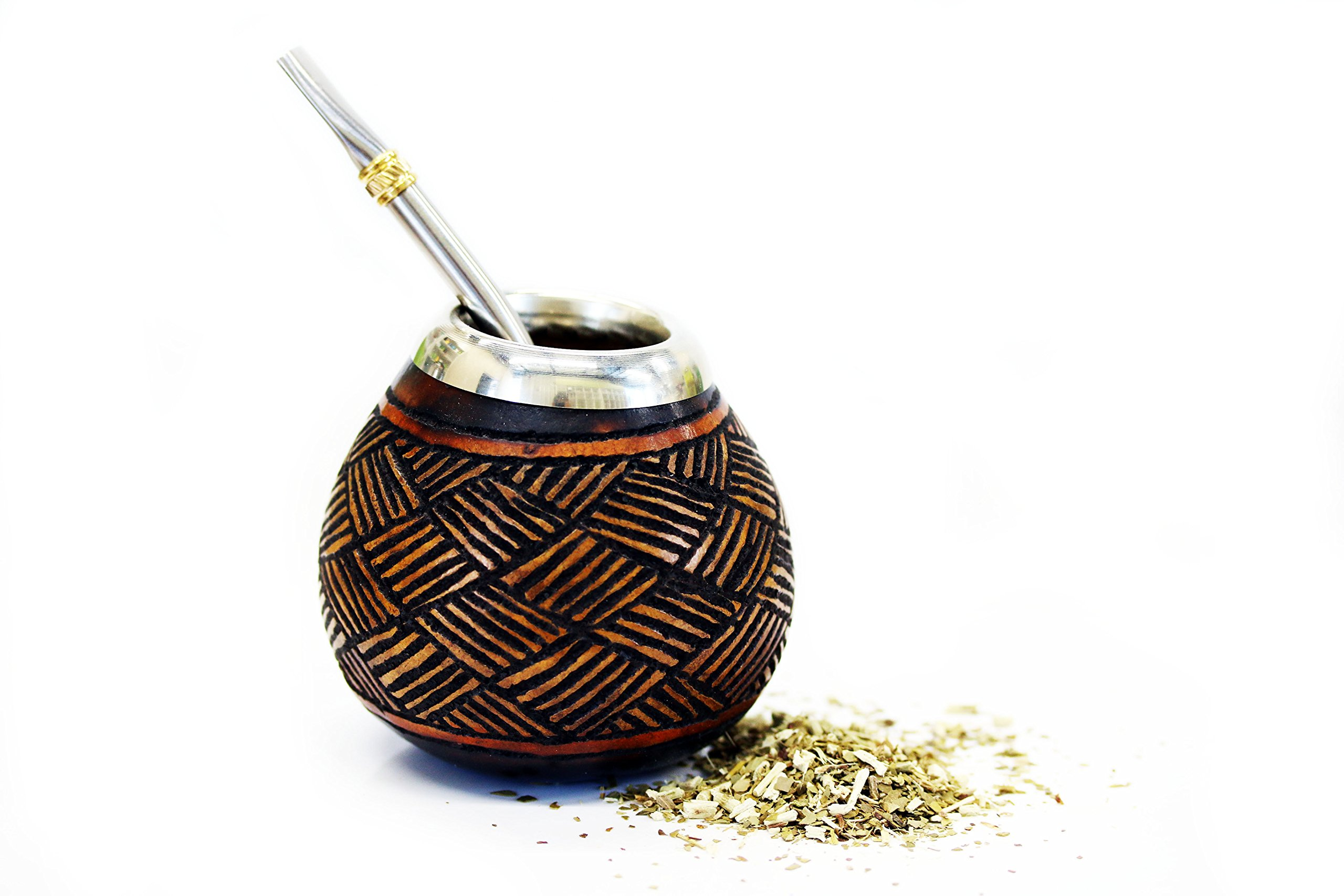 Tealyra - Hand Made Carved - Yerba Mate Gourd and Stainless Steel Bombilla Straw - Made in Argentina - Traditional Drinking Gourd - Authentic Argentinian Mate Cup (#1601) by Tealyra