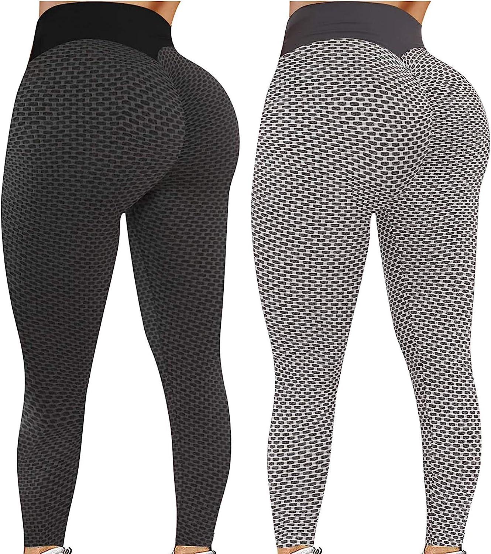 TIK Tok Leggings for Women Butt Lifting Yoga Pants High Waist Tummy Control Bubble Hip Lift Workout Running Tights