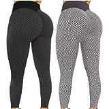 frariair 2Pcs Women's High Waist Yoga Pants Hip Lift TIK Tok Leggings Workout Tummy Control Scrunch Sweatpants