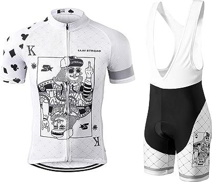 The men/'s White Bike Bicycle Cycling Short Sleeve Jersey Bib Shorts Suit