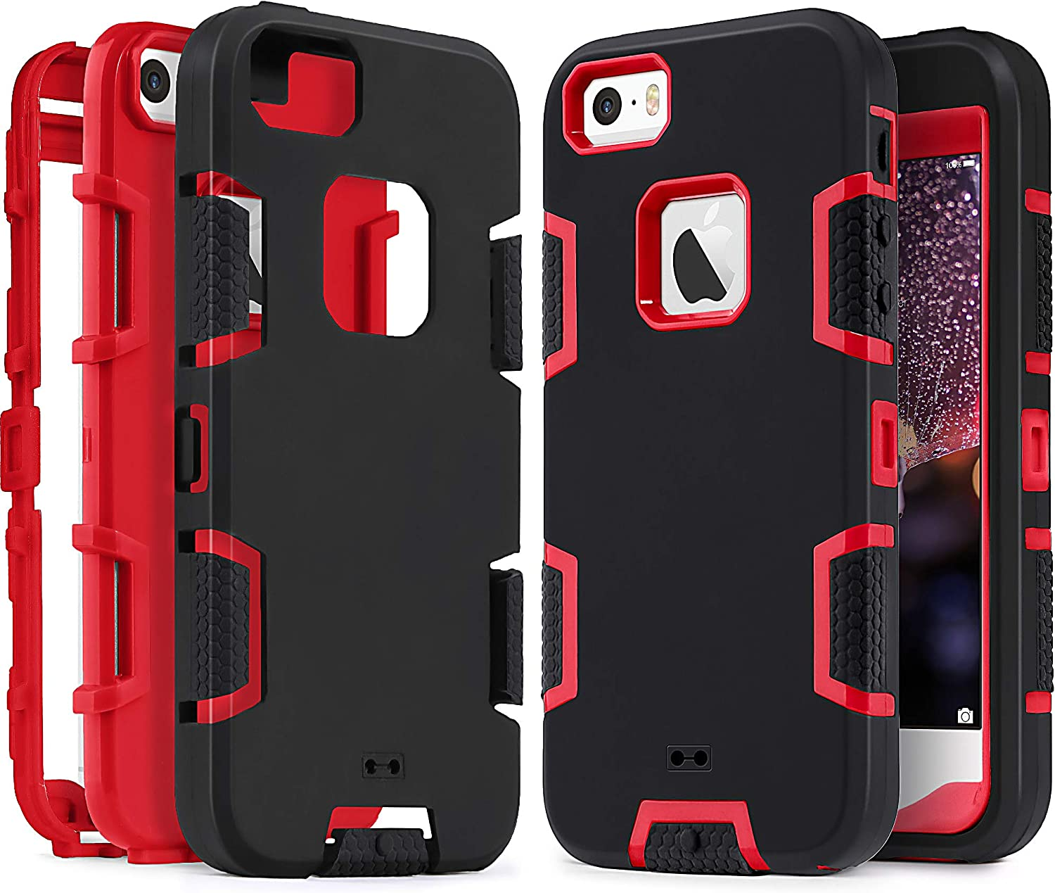 iPhone SE Case, IDweel iPhone 5S Case,iPhone 5 Case, Heavy Duty Protection Shockproof Rugged Drop Resistant Dustproof Anti-Scratch Anti-Slip Protective Cover for Apple iPhone 5 5S SE, Red+Black