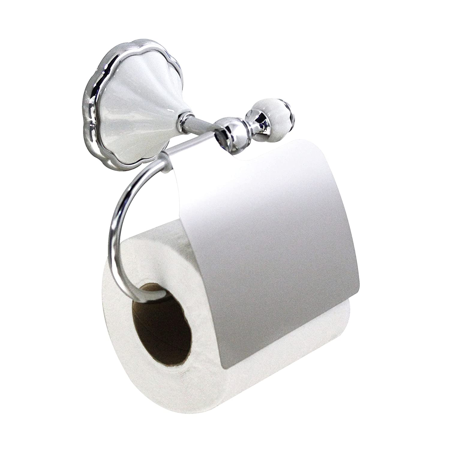 modona 9955 a toilet paper holder with cover white porcelain and polished chro ebay. Black Bedroom Furniture Sets. Home Design Ideas