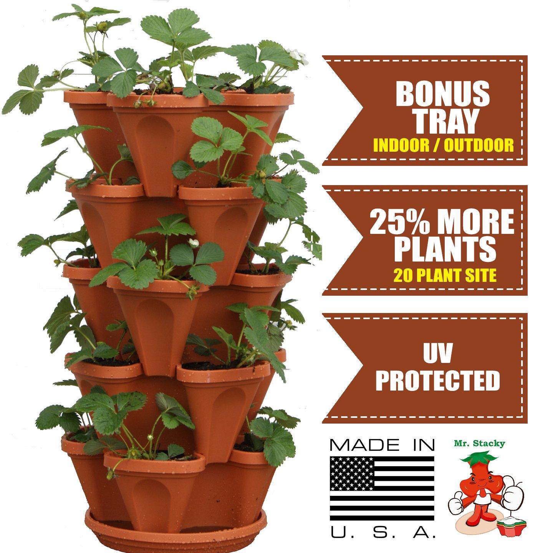 3 Tier Strawberry Planter: Mr. Stacky 5-Tier Strawberry Planter Pot, 5 Pots