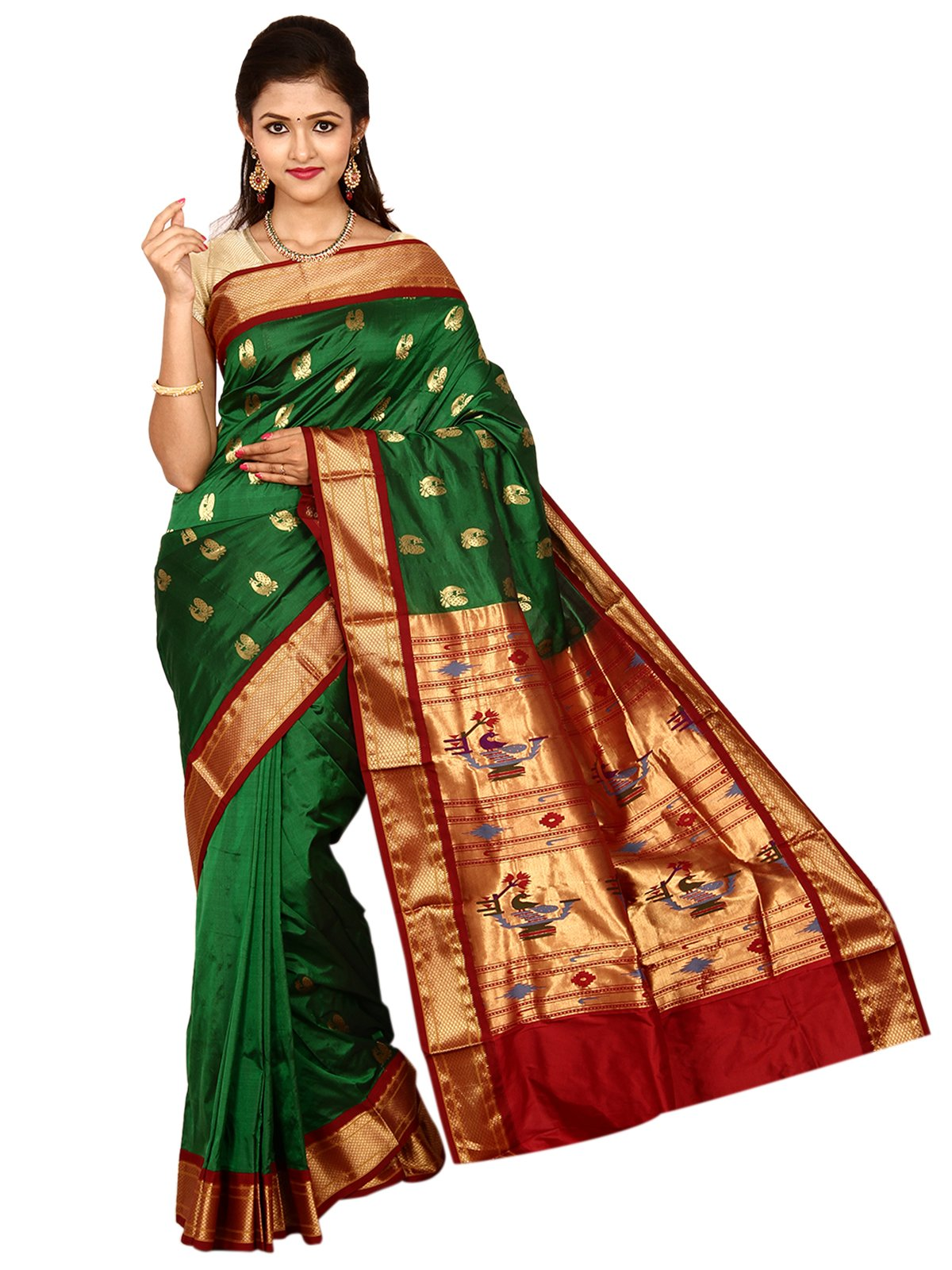 Indian Silks Peacock Design Paithani Handloom Pure Silk Saree, With Unstitched Blouse Piece (Dark_Green)