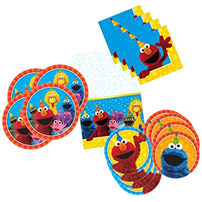 Sesame Street Birthday Party Supplies for 16 Guests - Includes 16 Dinner Plates, 16 Dessert Plates, 16 Dinner Napkins, and 1 Tablecover, Bundle: Toys & Games