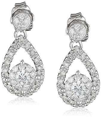 Amazon 14k White Gold Diamond Teardrop Earrings 1 2 cttw