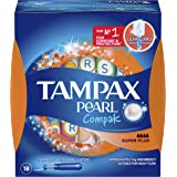 Tampax Pearl Compak Tampons Super Plus, Heavy, 18 Count