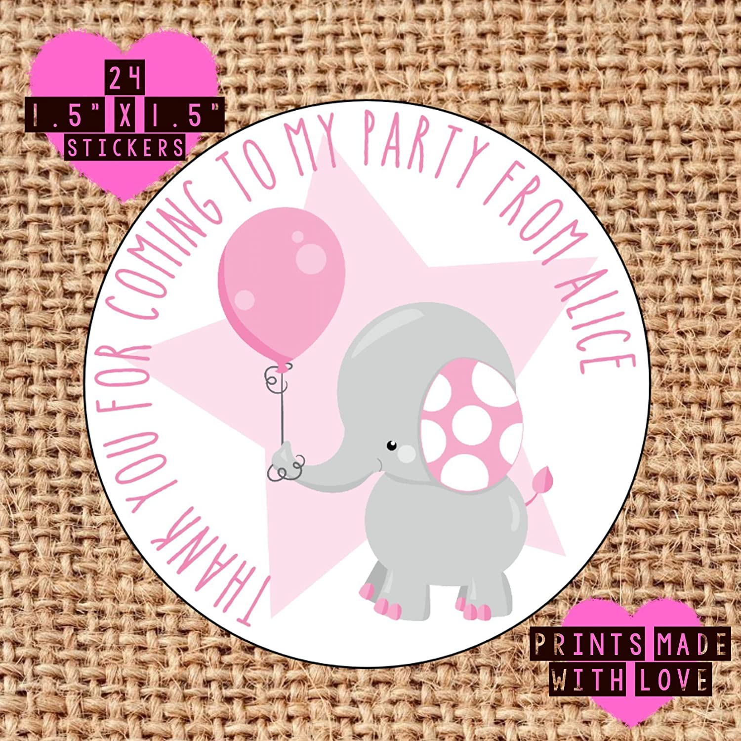24 x personalised elephant birthday party bag stickers 1st birthday grey with pink balloon christening naming day amazon co uk handmade