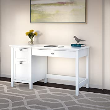 broadview computer desk with 2 drawer pedestal in pure white