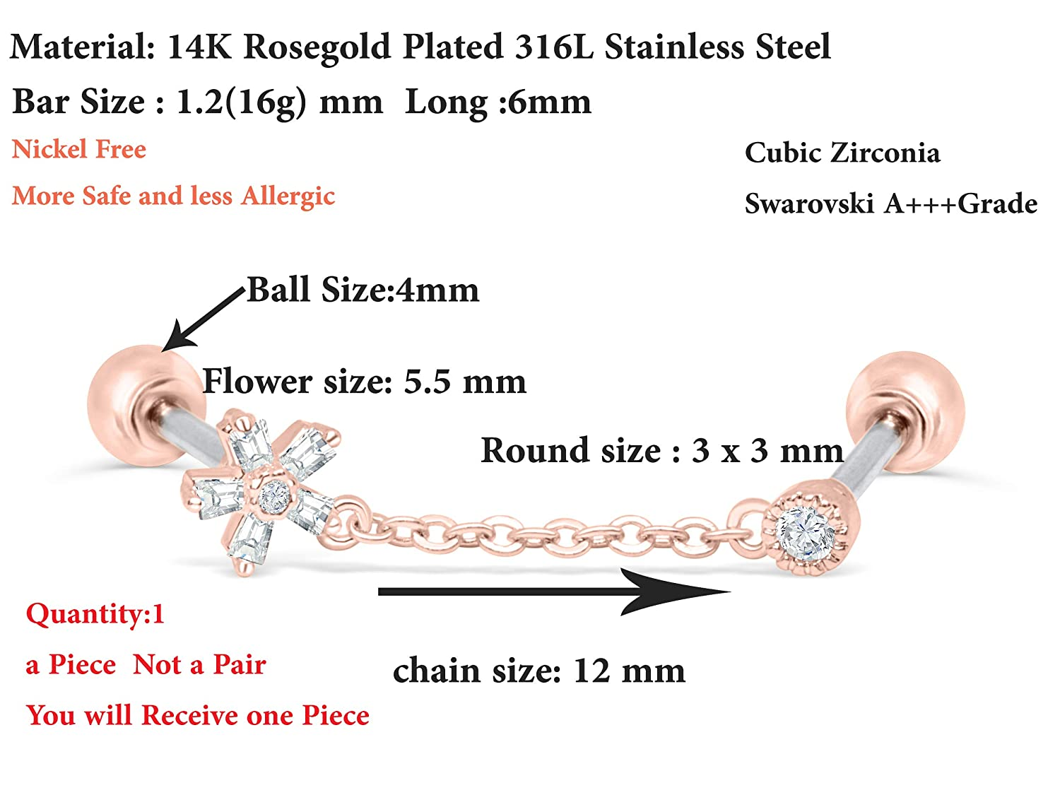 ONDAISY 14k Gold Plated Simulated Diamond Round Cz Snowflake Flower Ear Barbell Ball Stud Earring Chain Piercing