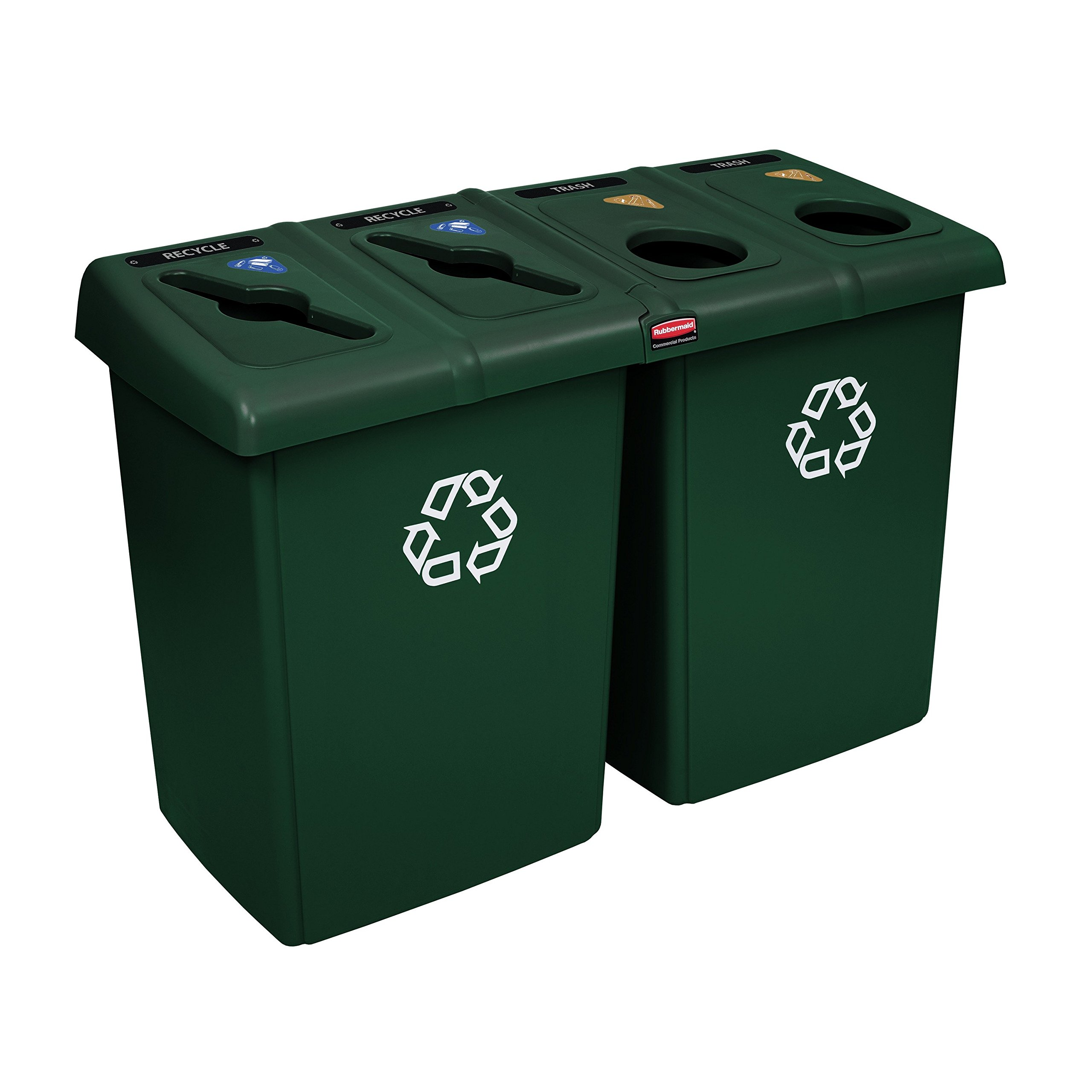 Rubbermaid Commercial 1792373 Glutton Recycling Staion, 4-Stream, Green, Color/Style