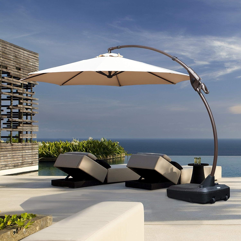 Grand Patio Deluxe NAPOLI Curvy Aluminum Offset Umbrella, Patio Cantilever Umbrella with Base