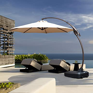 grand patio deluxe napoli curvy aluminum offset umbrella patio cantilever umbrella with base