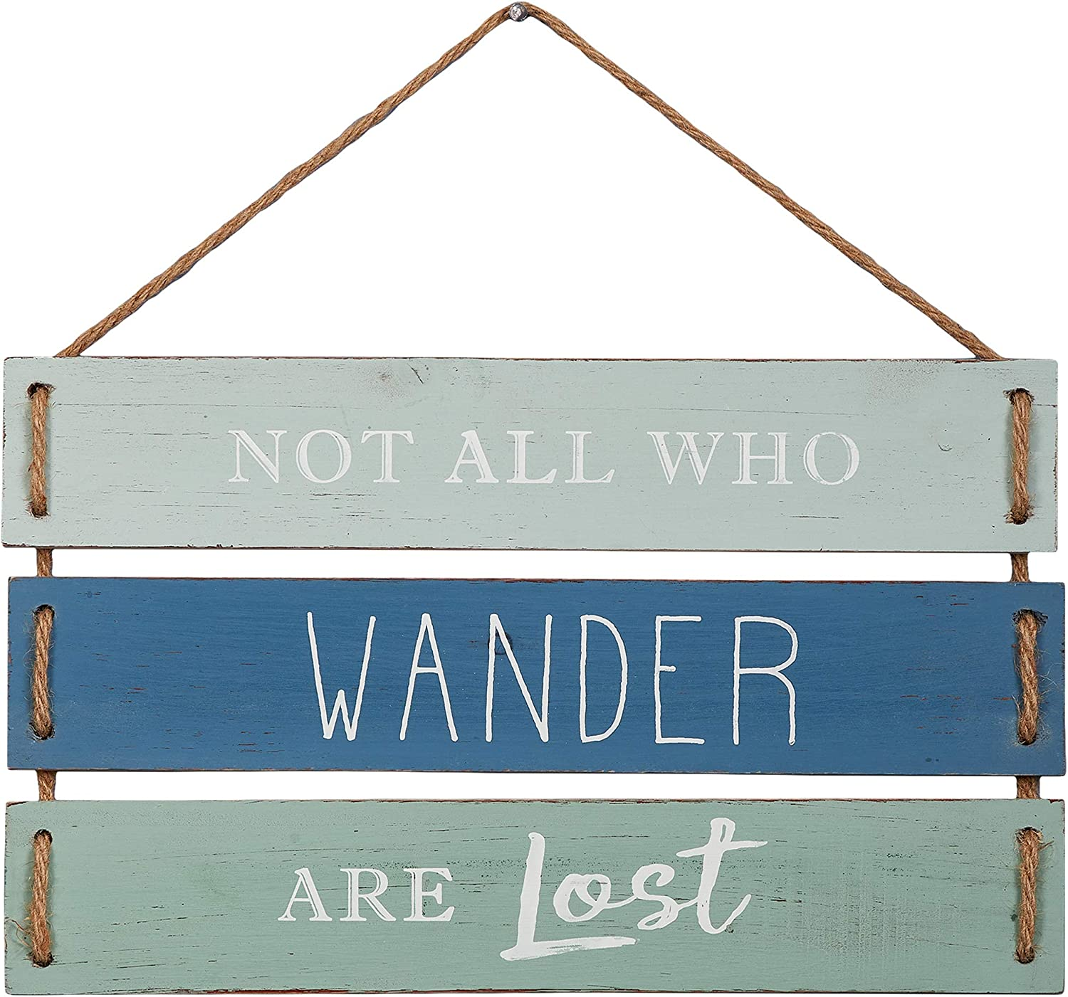 """Barnyard Designs Not All Who Wander are Lost Quote Wall Decor, Decorative Wood Plank Hanging Sign 17"""" x 9.75"""