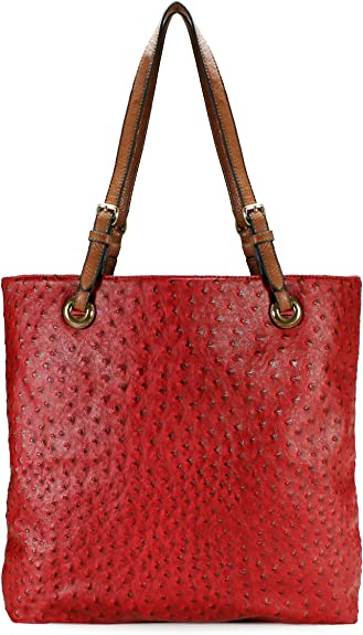 Amazon.com: Scarleton Ostrich Large Tote H115610 - Red: Shoes