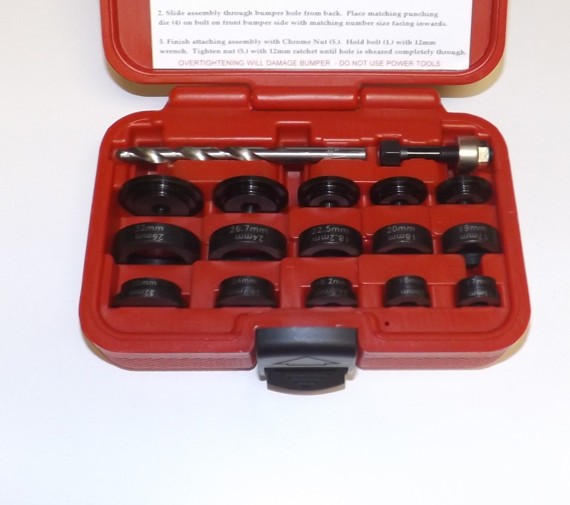 Perfect Hole punch kit for parking sensors with 10 Different Sizes for Domestic and Import: 17mm, 18mm, 18.2mm, 19mm, 20mm, 22.5mm, 24mm, 26mm, 26.7mm, 32mm by Quality Product by Killer Tools