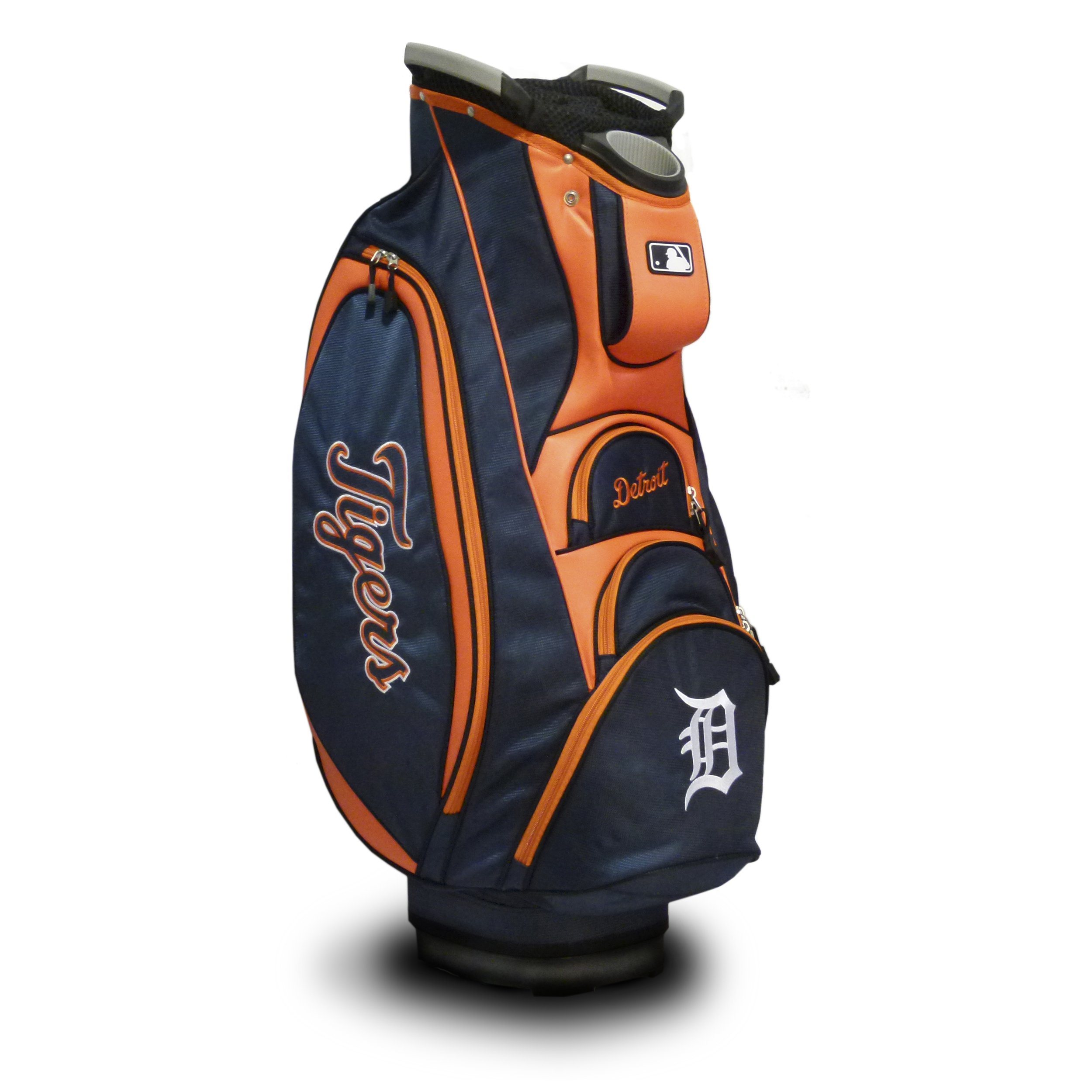 Team Golf MLB Detroit Tigers Victory Golf Cart Bag, 10-way Top with Integrated Dual Handle & External Putter Well, Cooler Pocket, Padded Strap, Umbrella Holder & Removable Rain Hood