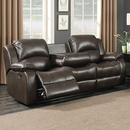 AC Pacific Samara Collection Modern Upholstered Transitional Reclining Sofa with Dual Recliners and a Center Drop Down Table with Cup Holders, Dark ...