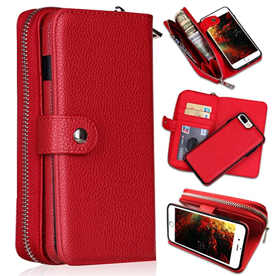 check out b89d6 72966 iPhone 7 Plus/iPhone 8 Plus Wallet Cases, [Large Capacity][Magnetic  Detachable] CASEOWL 2 in 1 Zipper Pocket Leather Wallet Case with Wrist  Strap, ...