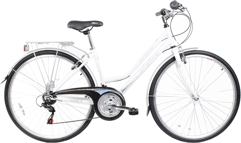 Falcon - Bicicleta híbrida para Mujer, Talla S (156-163 cm), Color Blanco Metalizado: Amazon.es: Deportes y aire libre