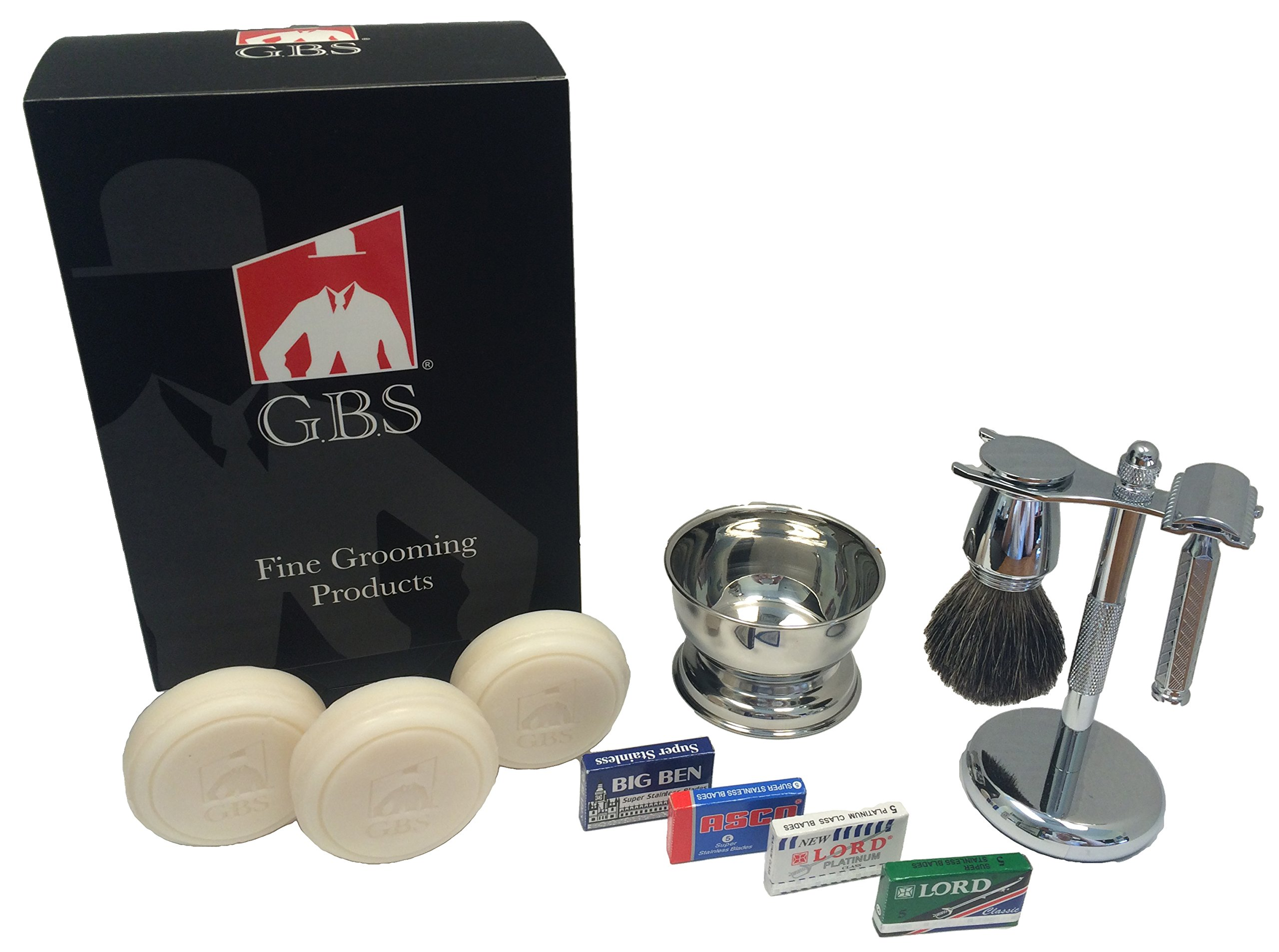 GBS Gift Set - Comes with Gift Box - Merkur 42C Safety Razor, Pure Badger Shaving Brush, Brush and Razor Stand, Chrome Bowl, 3 Pack of GBS Shaving Soap, and 25 Blades!
