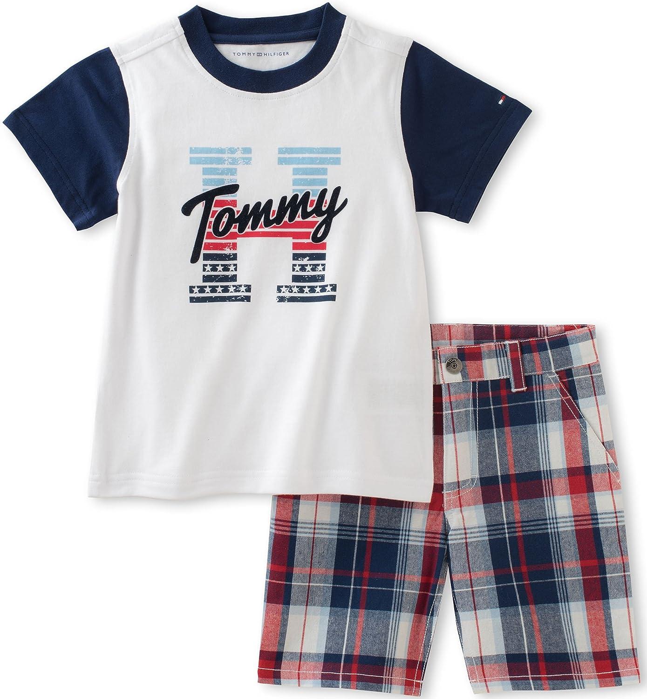 e58884089 Amazon.com: Tommy Hilfiger Toddler Boys' 2 Piece Short Set, White, 4T:  Clothing