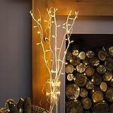 Bouquet Lumineux Décoratif 5 Branches Naturelles de Saule - 50 LED Éclairage Blanc Chaud - 90cm (Blanc)