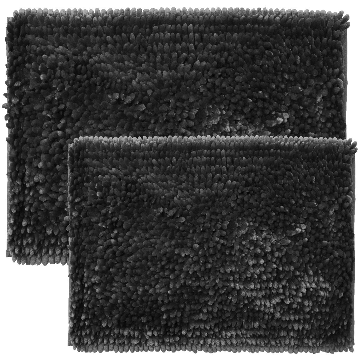 Sweet Home Collection Chenille Noodle 2 Piece Bathroom Rug Set, Charcoal