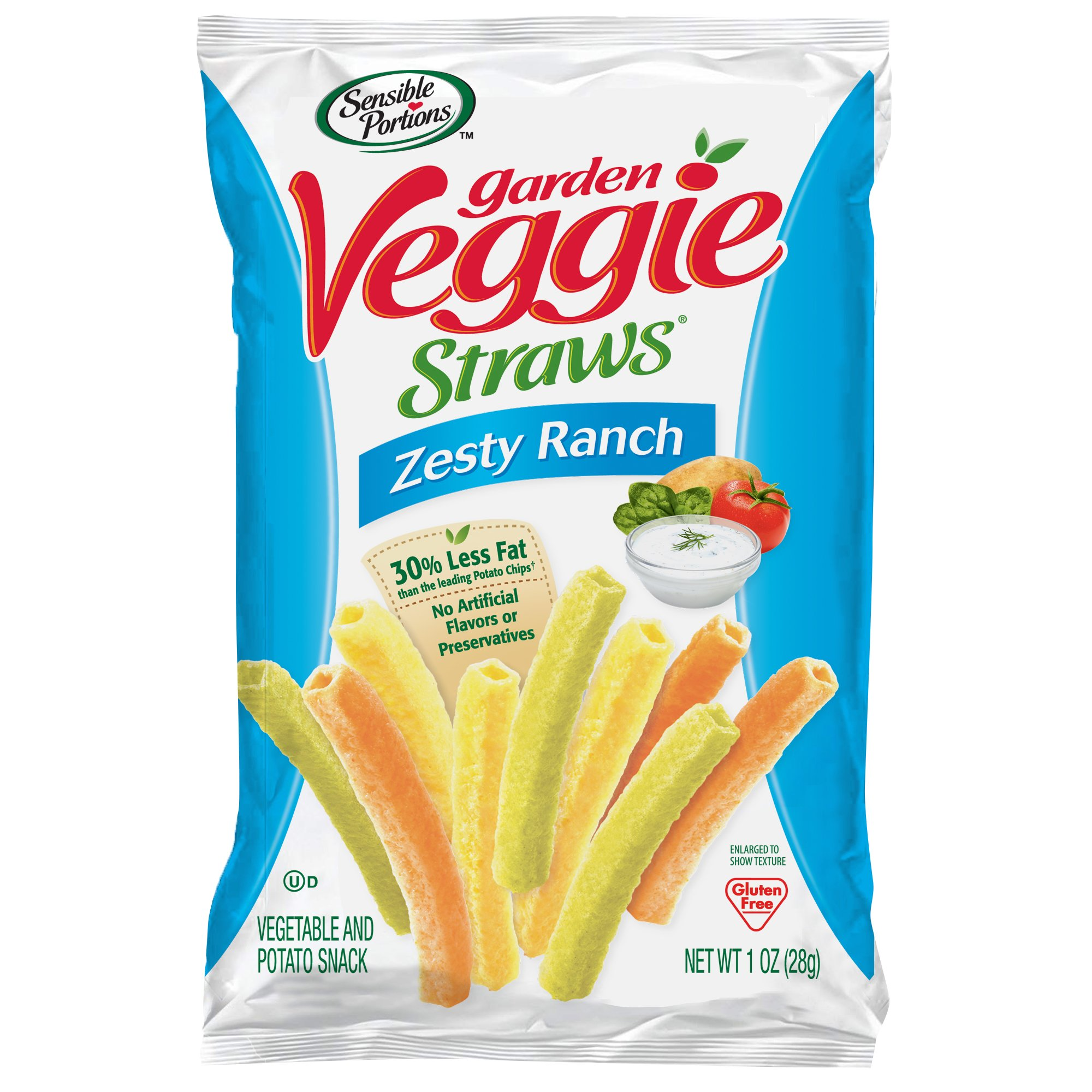 Sensible Portions Garden Veggie Straws, Ranch, 1 oz. (Pack of 24) by Sensible Portions