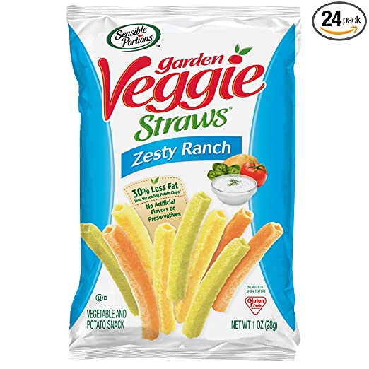 Sensible Portions Garden Veggie Straws, Ranch, 1 oz. (Pack of 24)