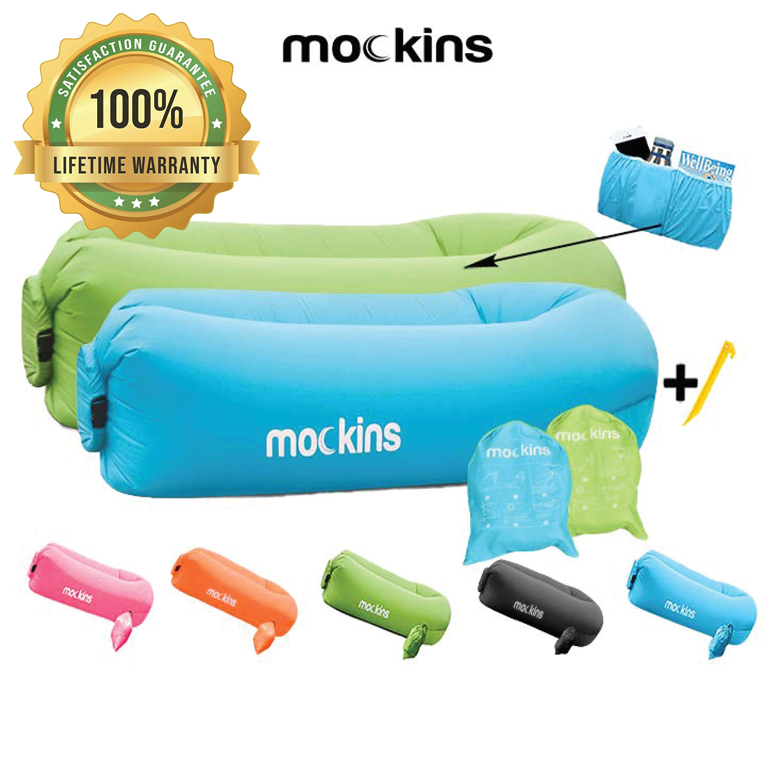 Mockins 2 Pack Inflatable Lounger Air Sofa Perfect for Beach Chair Camping Chairs or Portable Hammock and Includes Travel Bag Pouch and Pockets | Easy to Use Camping Accessories -Blue and Green Color by Mockins