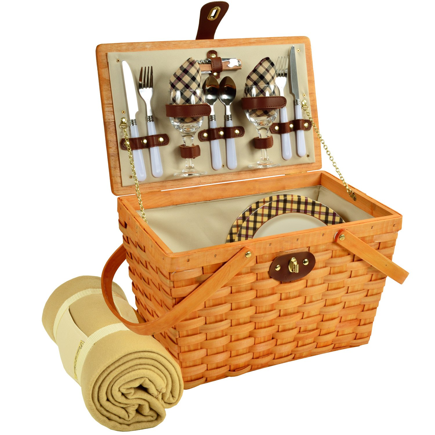 Picnic at Ascot Frisco Traditional American Style Picnic Basket With Blanket, London Plaid