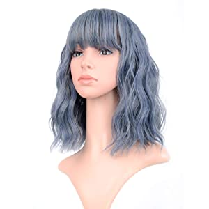 """VCKOVCKO Wavy Wig Short Bob Wigs With Air Bangs Shoulder Length Women's Short Wig Curly Wavy Synthetic Cosplay Wig Pastel Bob Wig for Girl Colorful Costume Wigs(12"""", Mix Blue)"""
