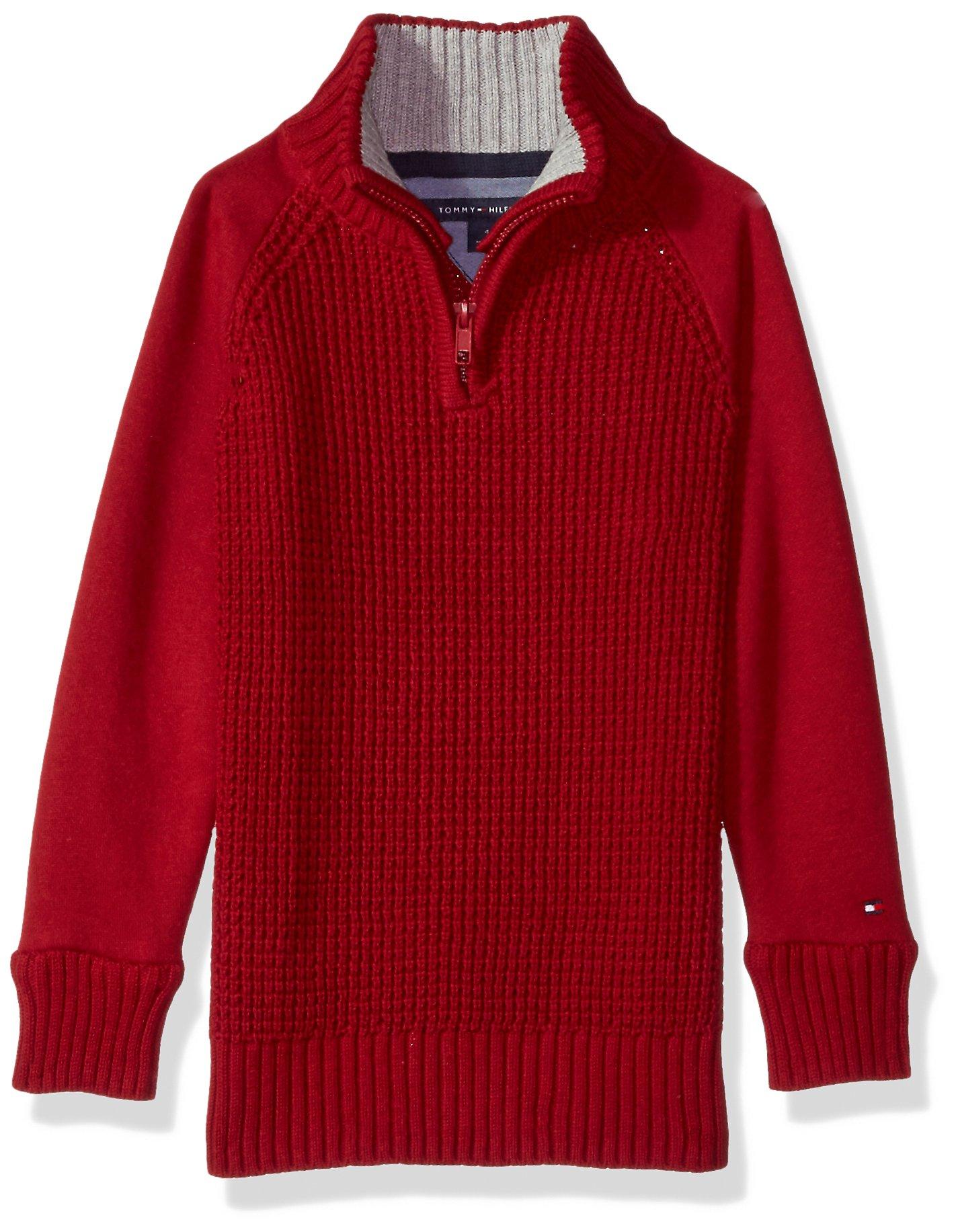 Tommy Hilfiger Boys' Big Long Sleeve Half Zip Pullover Sweater, Reggie Bullseye Red X-Large