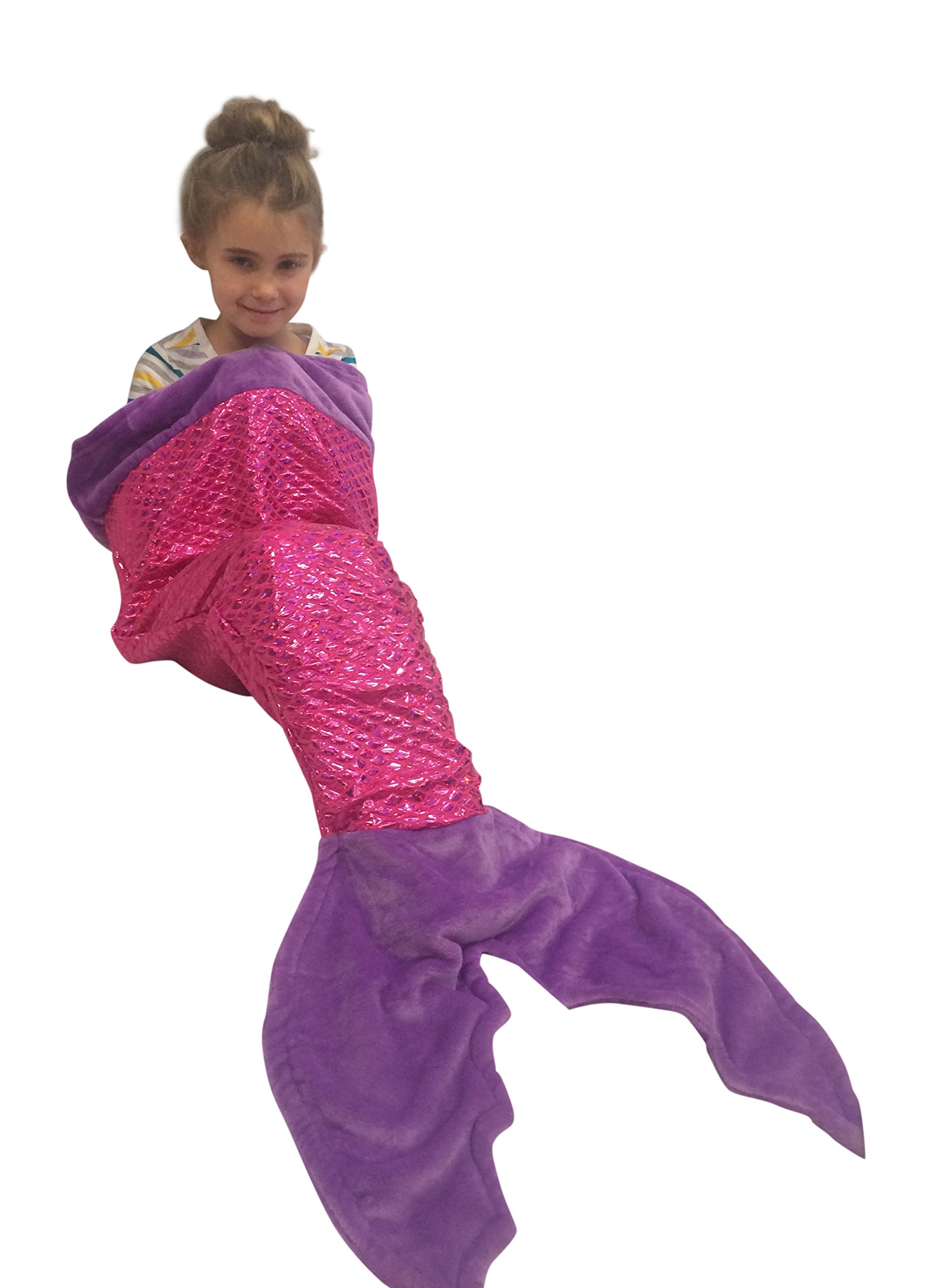 Pearls and Pixie Dust Deluxe Plush Lined Mermaid Snuggle Blanket with Glittering Scales (Pink)