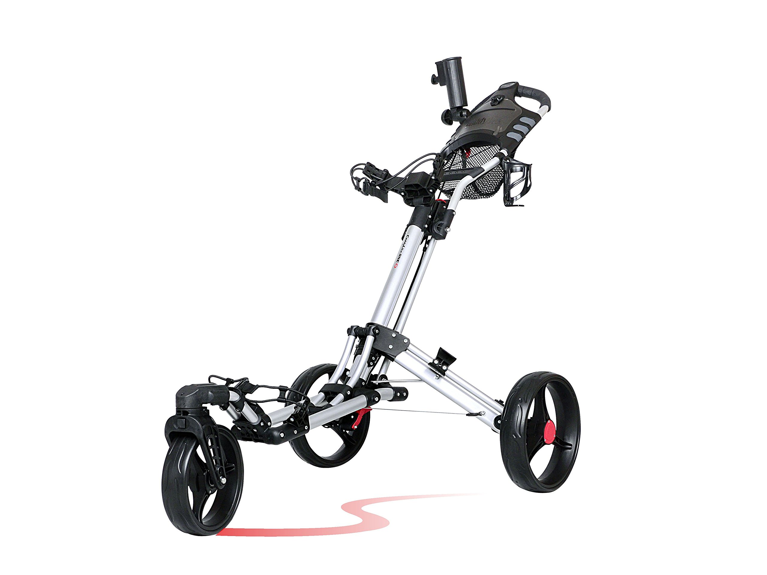CaddyTek One-click folding 3 wheel golf push cart with Swivel front wheel, Silver color