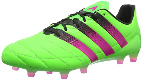 online store 3ec9c b5c7f adidas Mens Ace 16.1 FGAG Leather Football Boots, Multicolour (GreenPink