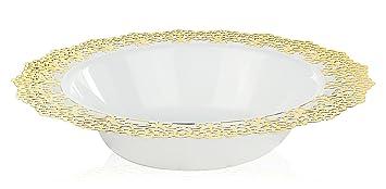 Elegant Disposable Plastic Dinnerware - White Soup/Salad Bowl with Gold Lace Trim - Hard  sc 1 st  Amazon.com & Amazon.com: Elegant Disposable Plastic Dinnerware - White Soup/Salad ...