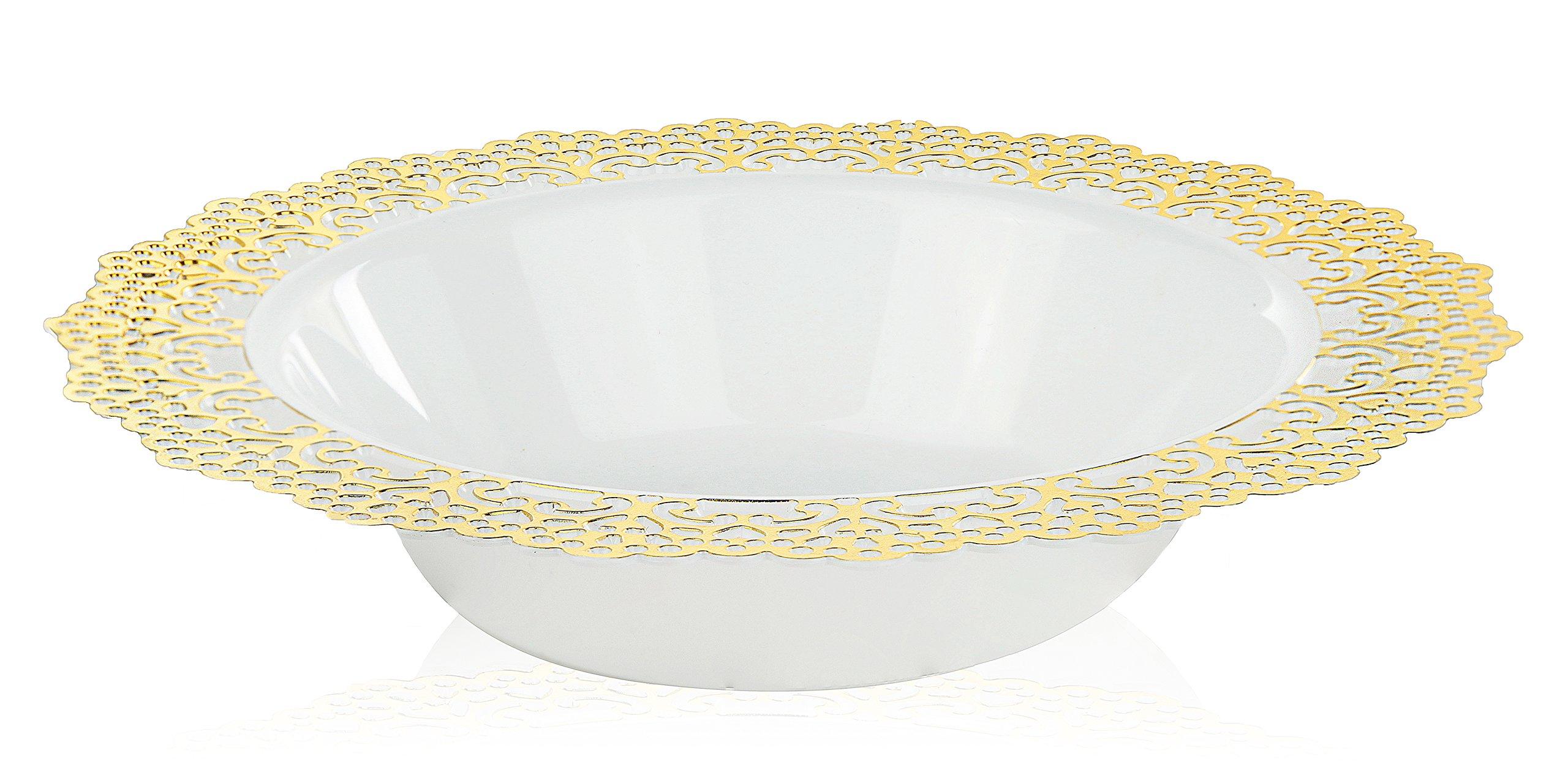 elegant disposable plastic dinnerware plates white bowl with gold lace trim hard u0026 reusable